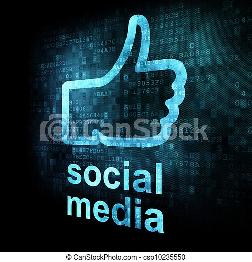 Like and words Social media on digital background - csp10235550