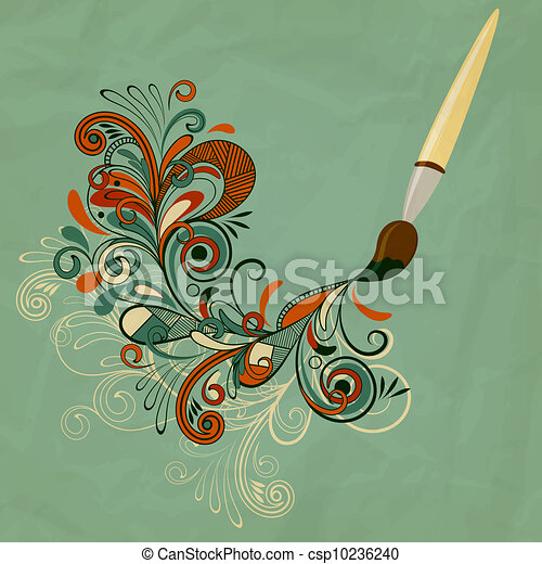 vector concept cartoon brush painting branch - csp10236240