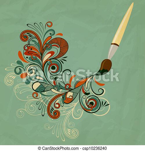 vector concept cartoon brush painting branch - csp10236240