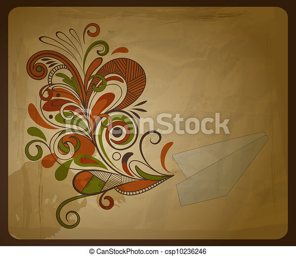 vector eco  concept composition with a paper plane and  and floral pattern on crumpled paper texture, eps 10,  - csp10236246