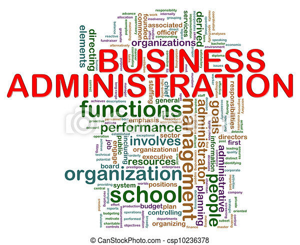 Business administration word tags - csp10236378