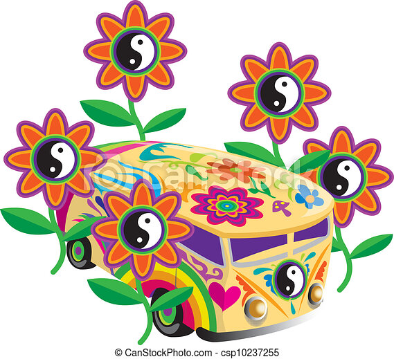 Clipart Vector of Peace and love: flower power csp10237255 ...
