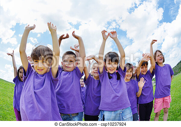 happy kids group  have fun in nature - csp10237924