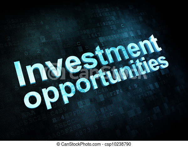 Business concept: pixelated words Investment opportunities on digital screen, 3d render - csp10238790