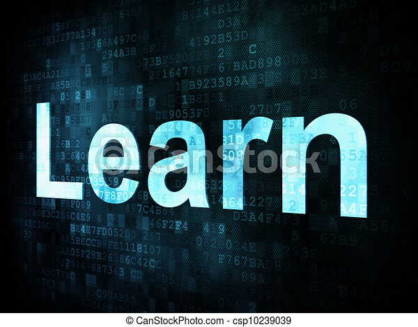 Education and learn concept: pixelated words Learn on digital screen, 3d render - csp10239039