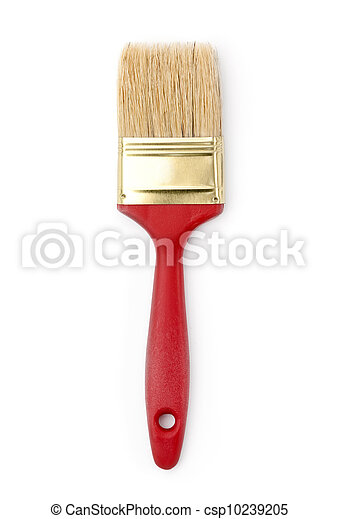 Red paintbrush, isolated on white - csp10239205