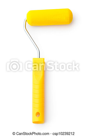 Painting roller with yellow handle - csp10239212
