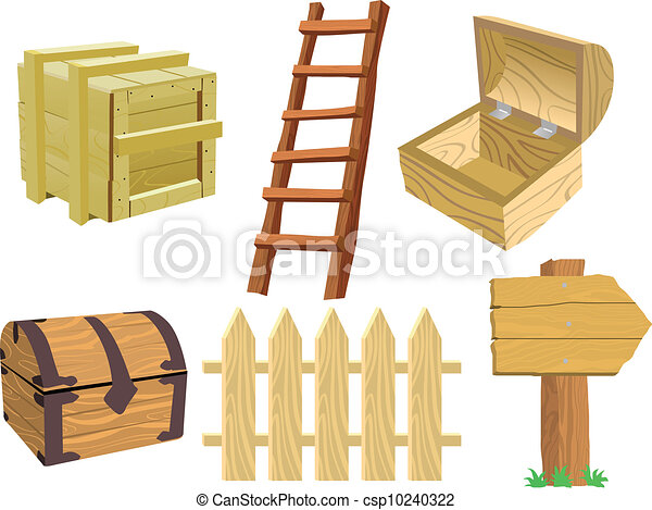 Ilustraciones de vectores de de madera conjunto objetos for Cosas con tarimas de madera