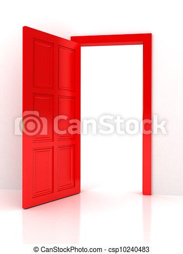 Red door over white background - csp10240483