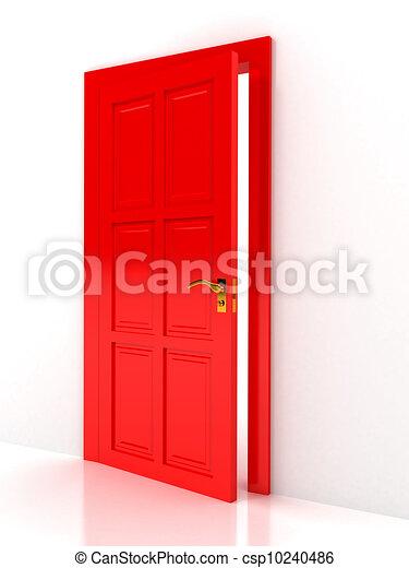 Red door over white background - csp10240486