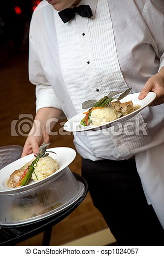 Wedding food being served by a waiter - csp1024057