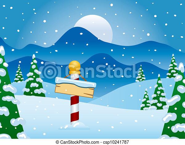 North Pole Winter Scene with Snow - csp10241787