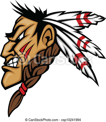 Indian Brave Mascot Head Vector Cartoon - csp10241994