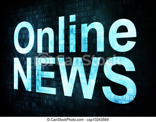 News and press concept: pixelated words Online NEWS on digital screen, 3d render  - csp10243569