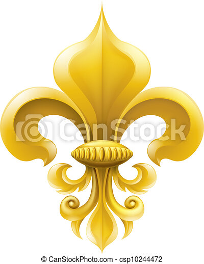 Golden Fleur-de-lis illustration - csp10244472