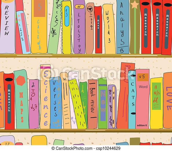 clip art de livre papier peint seamless biblioth que tag res csp10244629 recherchez. Black Bedroom Furniture Sets. Home Design Ideas