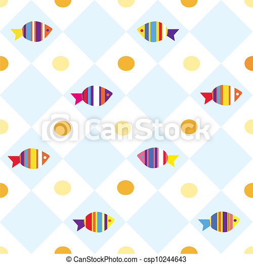 Fish Pattern Drawing Fish Seamless Plaid Pattern