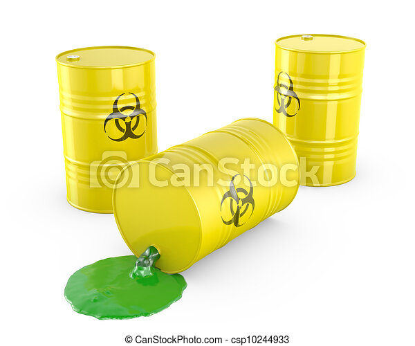 Drawings of Toxic waste spilling from barrel, isolated on ...