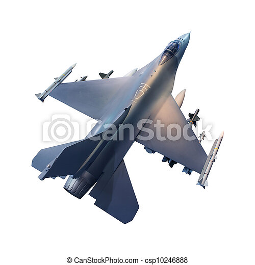 B, ジェット機, 隔離された, 飛行機, 軍, 白 - csp10246888