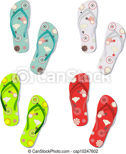 Set of colorful fun flip flops - csp10247602