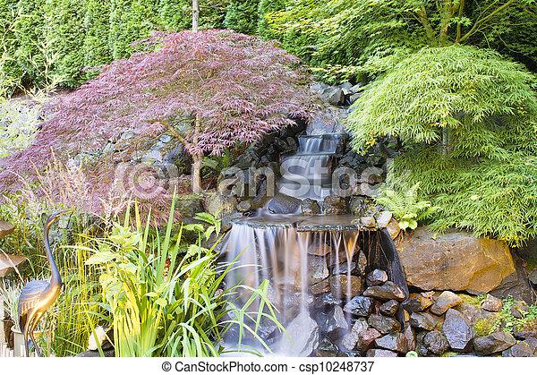 Backyard Waterfall with Trees - csp10248737