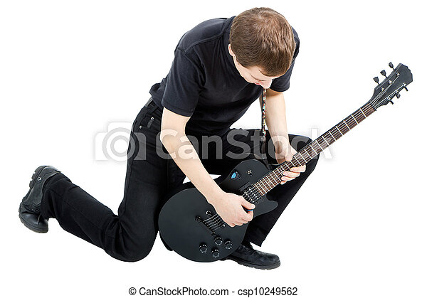 performer with an electric guitar - csp10249562