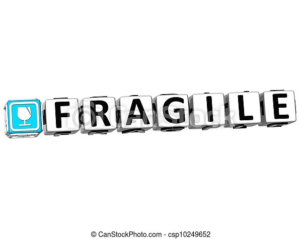 3D Fragile Button Click Here Block Text - csp10249652