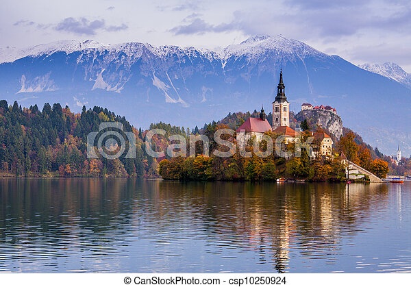 Bled with lake, Slovenia, Europe - csp10250924
