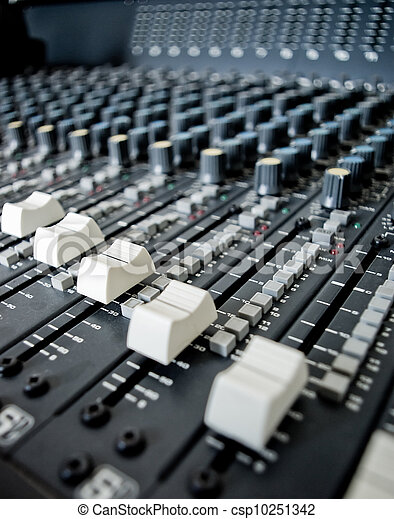Stock Photo of Audio Engineer Mixing Board - Close up of ...