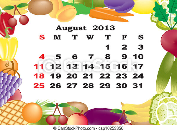 August - monthly calendar 2013 in frame with fruits and vegetables - csp10253356