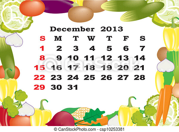 December - monthly calendar 2013 in frame with vegetables - csp10253381