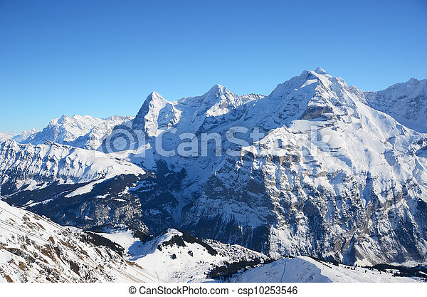 Eiger, Moench and Jungfrau, famous Swiss mountain peaks - csp10253546