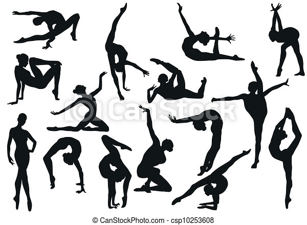 Set Dance girl ballet silhouettes  - csp10253608