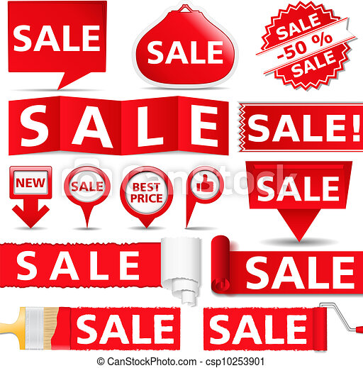 Red sale banners - csp10253901