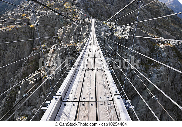 Trift Bridge, the longest 170m pedestrian-only suspension bridge in the Alps. Switzerland - csp10254404
