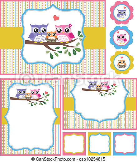 bebé, búho, ducha, tarjeta, Ilustración - csp10254815