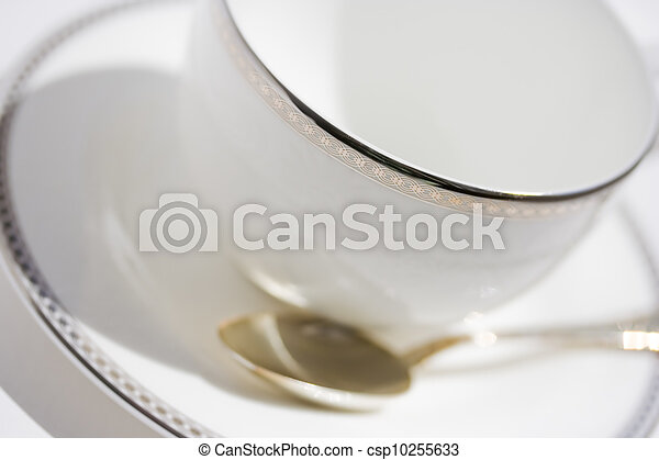 White cup with saucer and teaspoon - csp10255633