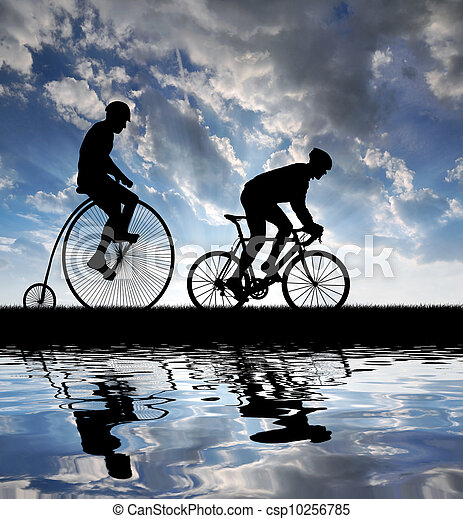 silhouette cyclists on bicycles - csp10256785