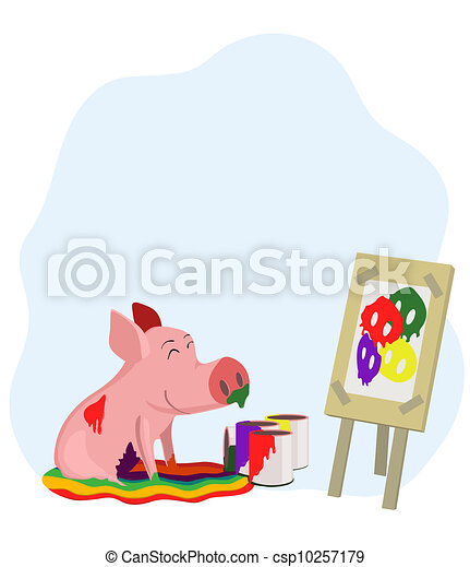 paints a picture of a pig - csp10257179