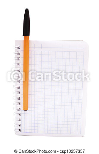 Notebook with ballpoint pen isolated - csp10257357