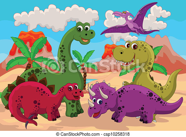 funny dinosaur cartoon - csp10258318