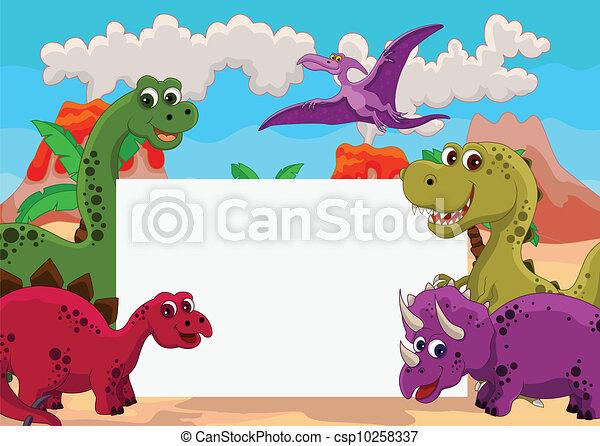 dinosaur with blank sign - csp10258337