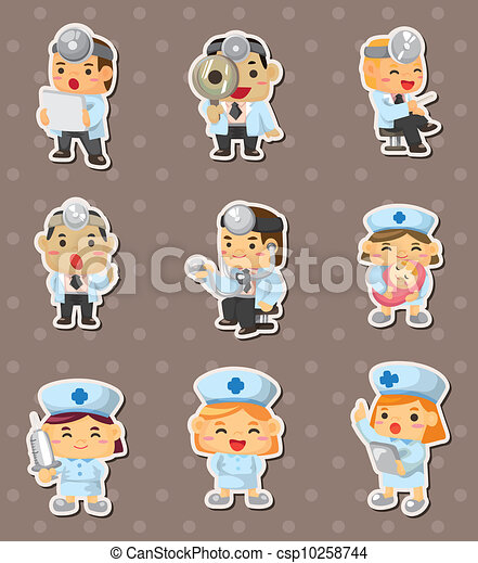doctor and nurse stickers - csp10258744