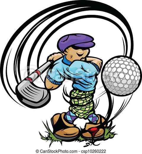 Golfer Cartoon Swinging Golf Club at Ball on Tee - csp10260222