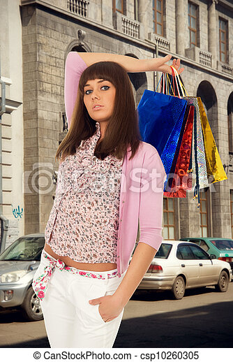 Beautiful girl with purchases  - csp10260305