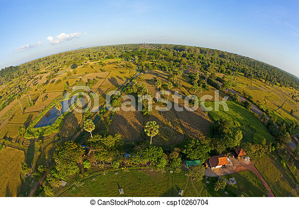 Aerial view of Cambodian countryside - csp10260704