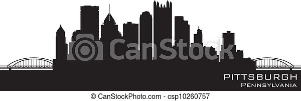 Pittsburgh, Pennsylvania skyline. Detailed vector silhouette - csp10260757