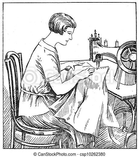 Stock de Ilustraciones de apropiado, Sentado, Costura, máquina ...