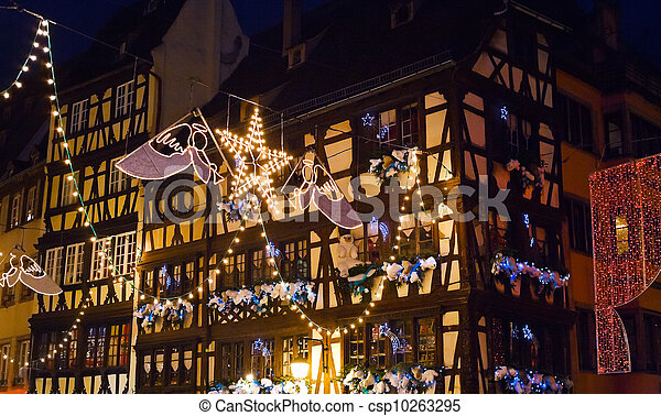 electric christmas garlands in town - csp10263295