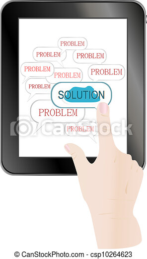business hand pushing on solution innovation button - csp10264623